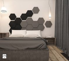 Mieszkanie heksagon od take design Master Bedroom Interior, Bedding Master Bedroom, Modern Bedroom Design, Contemporary Bedroom, Bed Design, Bedroom Furniture, Bedroom Decor, Master Bedrooms, Black Furniture