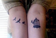 cool tattoo birds birdcage forearms matching