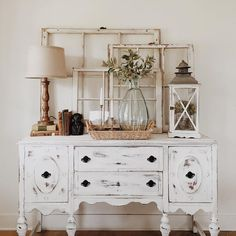 Beautifully staged painted Antique buffet