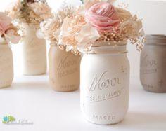 Mason Jars Home And Wedding Decor Painted Vase By Beachblues