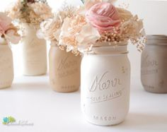 Mason Jars Home and Wedding Decor Painted Vase by BeachBlues