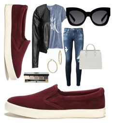 """Red Suede Shoes"" by thefancyfashionlife ❤ liked on Polyvore featuring Lauren Ralph Lauren, Old Navy, AG Adriano Goldschmied, Zizzi, Karen Walker, Bony Levy and Bobbi Brown Cosmetics"