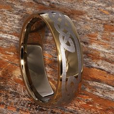 Gold Tungsten Wedding Band with Knotwork Mens Tungsten Ring