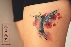 Humming bird qith cherryblossoms by Nancy Abraham Muchas gracias Martha por confiarme tu primer tatuaje, creo que me gusta hacer colibrís! #watercolorartist #watercolortattoo #hummingbird...