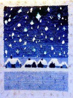 Lumihiutaleet. Pohjanmaalla toimivilla pienillä kutomoilla on runsaasti omia malleja. Japanese Stamp, Rya Rug, Tapestry Weaving, Textiles, Ribbon Embroidery, Rug Hooking, Christmas Art, Winter Time, Rugs