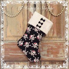 Christmas stocking, Girly skulls, black & white, stocking, mantle decor, chenille cuff by lilhoneysshoppe on Etsy