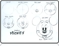 "Today in 1928 Mickey Mouse made his official debut in ""Steamboat Willie."" To celebrate his birthday, learn to draw Mickey with these handy dandy ""how to"" notes I. Mickey Mouse Drawings, Mickey Mouse Head, Disney Mickey Mouse, Mickey Mouse Drawing Easy, Mickey Mouse Sketch, Pictures Of Mickey Mouse, Easy Disney Drawings, Disney Sketches, Easy Drawings"