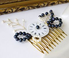 black pearl and gold wedding comb  vintage watch face by PearlsByTabs, $45.00