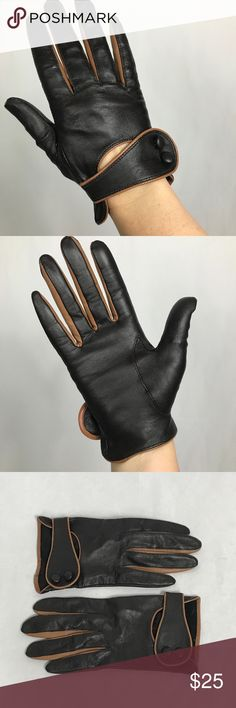 New Ladies Soft Full Leather Gloves Fully Green Trim Coloured finger Sides