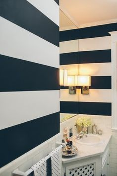 Gorgeous Navy And White Stripes Bathroom
