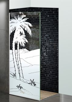 Shower Divider Panel featuring the Date Palm II design in the 1D Positive Clear effect by Sans Soucie Art Glass. Design elements are sandblast etched on the top surface of smooth, clear glass, and are solid white shapes.  This effect is considered semi-private, as the clear glass background area of the glass, will vary by design.