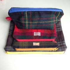 Handmade upcycled tartan pouches by ittakestwostudio