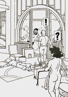 Herge Tintin, Ligne Claire, Adult Cartoons, Classic Comics, Comic Styles, Pulp Fiction, Funny Comics, Erotic Art, Illustration Art