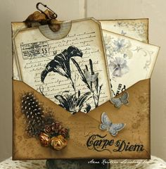 "On this card I have used stamps from Vilda Stamps.  The papers are from Pion Design - For Mother 6x6"" ♥  The envelope is sprayed with Perfect Pearls heirloom gold."