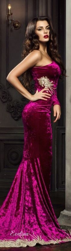 #Velvet cranberry coloured gown #Luxurydotcom