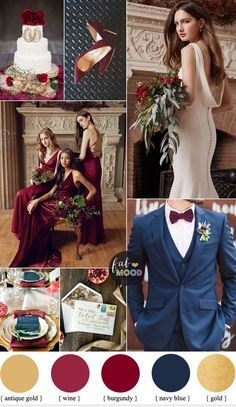 Burgundy gold and navy blue color scheme for classical wedding is part of Burgundy wedding colors A romantic pairing of elegant details with traditional elements, this burgundy wedding color palette - Navy And Burgundy Wedding, Burgundy Wedding Colors, Burgundy And Gold, Wedding Blue, Wedding Flowers, Autumn Wedding Colors, February Wedding Colors, Marsala And Gold Wedding, Blue Gold