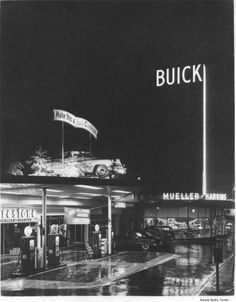 December, 4, 1948 was the grand opening of the new Mueller-Harkins Motor Company building at 455 Saint Helens Avenue. The Buick dealership, with its modern design and walls of glass, was owned and managed by Rudolph A. and John A. Mueller. Potential customers could easily see the cars on display in the well lit showroom. In 1953 the building was sold to Brus Buick Company, and in 1994 it was purchased by the U.S.A. of Yesterday Motor Car Company.