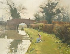 David Curtis, Old Packhorse Bridge on the Chesterfield Canal Oil on canvas: 18 x 24 inch Pastel Landscape, Watercolor Landscape, Landscape Art, Landscape Paintings, Classic Paintings, European Paintings, Beautiful Paintings, David Curtis, Watercolor Canvas