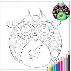 Hooty Love - Owl Art Fantasy Printable PDF Coloring Page Digital Download
