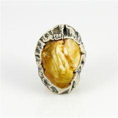 Adjustable Artistic Amber Ring
