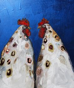 "Two Roosters in Metallic Indigo  2011  @ Eli Halpin   oil and mixed media on recycled wood  17.75"" x 21.25"""