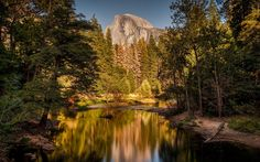 Download wallpapers yosemite, Mountains, mountain river, sunset, USA, rocks, yosemite national park