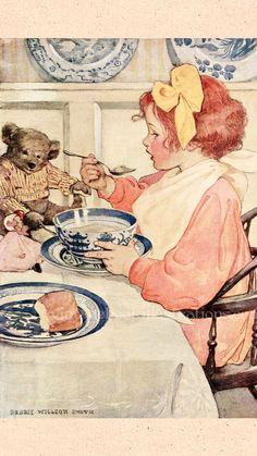 jessie willcox smith - Child with Teddy Bear Vintage Drawing, Vintage Art, Nostalgic Art, Sad Art, Arte Pop, Renaissance Art, Traditional Art, Cute Wallpapers, Art Inspo