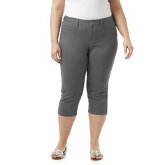 72177d0131a31 Simply Emma Womens Plus Capri Pants Dark Grey Solid sizes 16W 24W NEW 16.99  https