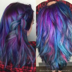 Mermaid Hair / Unicorn Hair / Galaxy Hair / Oil Slick ! / blue / magenta / pink / violet / purple / teal / aqua / minight blue / royal blue / https://www.instagram.com/hairbykristinamarie/ San Diego, CA