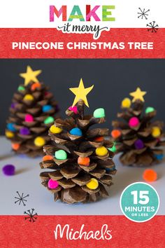 Make the holiday season merry with this cute & easy Pinecone Christmas Tree project! Learn how to make this and more at michaels.com.