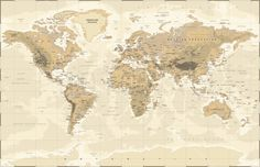 Beige and Green World Map - Tapetit / tapetti - Photowall