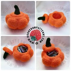 FREE crochet pumpkin pots pattern available at hookedonpatterns.com. Perfect for Halloween, Fall Harvest, or Thanksgiving!
