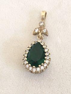 Hurrem!! Ottoman Turkish Handmade Sterling Silver Emerald & Topaz Pendant  | eBay