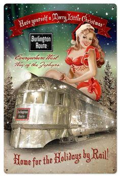 Burlington Christmas Train Metal Sign 24 x 36 Inches, $96.98