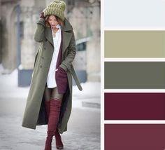 Colour Combinations Fashion, Color Combinations For Clothes, Fashion Colours, Colorful Fashion, Color Combos, Color Matching Clothes, Matching Outfits, Deep Autumn Color Palette, Burgundy Outfit