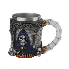 Creative 3D Skull Resin Pattern Stainless Steel Mug Coffee Tea Cup Bottle Drinking Cup Cool Decorative Cup
