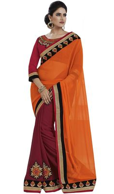 Cast out in graceful readiness draped in this orange and pink shade raw silk georgette half n half sari. The interesting lace and resham work in the course of the attire is awe-inspiring. Upon request we can make round front/back neck and short 6 inches sleeves regular saree blouse also. #TrendyDesignOfClassicalSaree