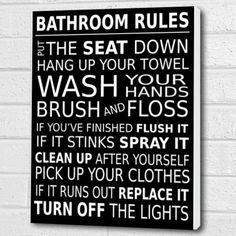 Bathroom Rules Wall Art Box Canvas - black A3 12x16 inch Cheryl Monaghan http://www.amazon.co.uk/dp/B00VQCWGSA/ref=cm_sw_r_pi_dp_OHOlvb1Z7PM86