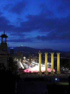 Vista nocturna desde Montjuic