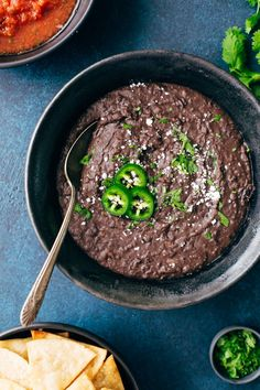 Learn how to make the BEST refried black beans in your instant pot. This quick recipe requires NO PRESOAKING for Mexican restaurant style refried beans.