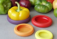 Food Huggers is a range of silicone doodads that prolong the life of cut produce by forming a seal around the cut end of a fruit or vegetable.