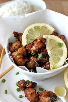 Asian-style chicken nuggets with lemon glaze