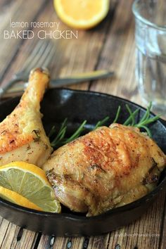 Lemon Rosemary Baked Chicken, full of fresh rosemary, thyme, and lemon flavors and done in minutes! | joyfulhealthyeats.com #recipes