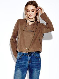 Sale 14% (30.49$) - Khaki Women Casual Tassels Zipper Pocket Long Sleeve Short Jackets