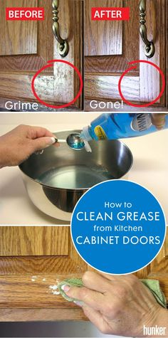 We often forget to clean our cabinet doors and you'd be surprised how gross they get! Get them grease and grime free with this easy homemade cleaner recipe (with ingredients you already have at home!) #diy