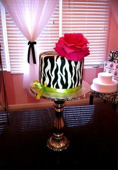 zebra, lime green, hot pink cake