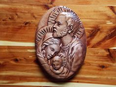 Unique Christian Wood Carvings by TheWoodGrainGallery: This wood carving of the Holy Family is up close and personal and you can feel the power of God's Love. This will make a lovely Christian gift for that someone special in your life.