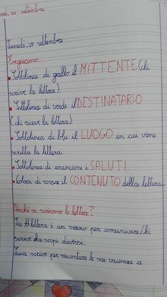Classe Terza-Italiano-la Lettera- Settembre - Maestra Anita Text Types, Home Schooling, Grammar, Bullet Journal, 3, Geography, Alphabet, Lab, Bricolage