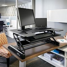 VARIDESK – Height-Adjustable Big-and-Tall Standing Desk – Exec 40 – Black