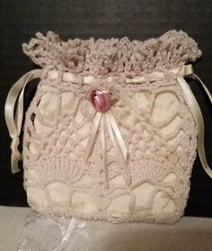 Dainty Doily Hand Purse with a small pink by ShellysSelectSalvage